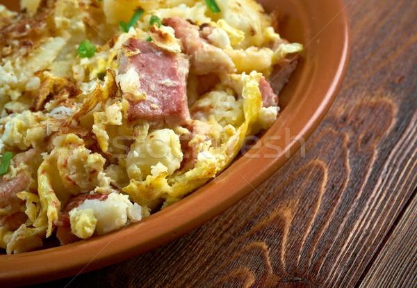Gazdák reggeli vidék edény sült krumpli Stock fotó © fanfo