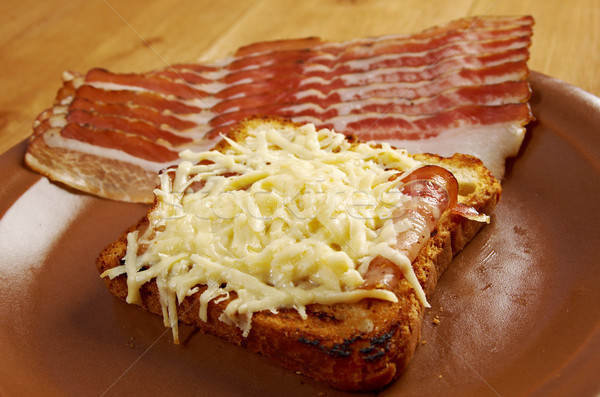 Cheese toast with piece  bacon Stock photo © fanfo