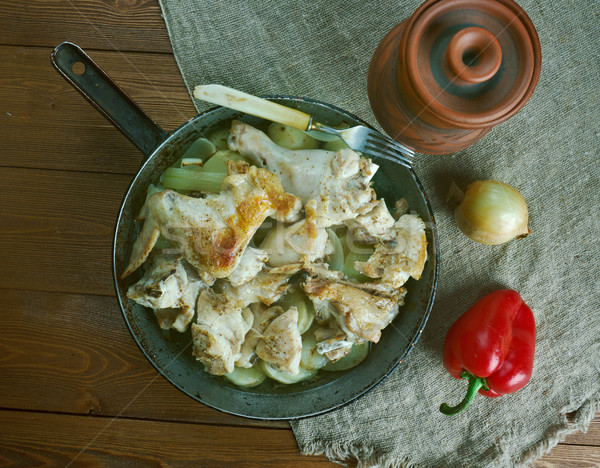 Stock photo: french stewed potatoes with chicken.