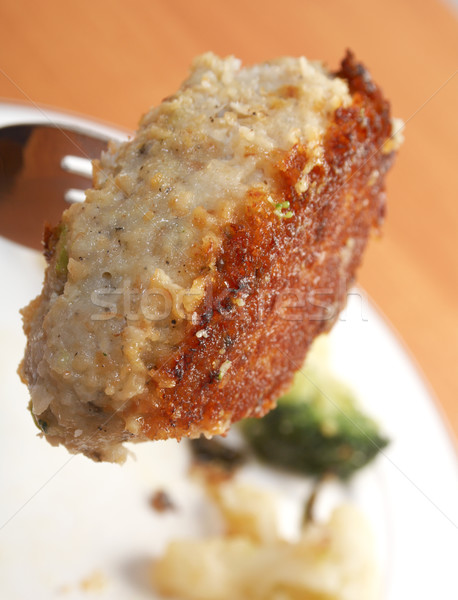 Stockfoto: Plaat · groenten · vork · kotelet · vlees · vet