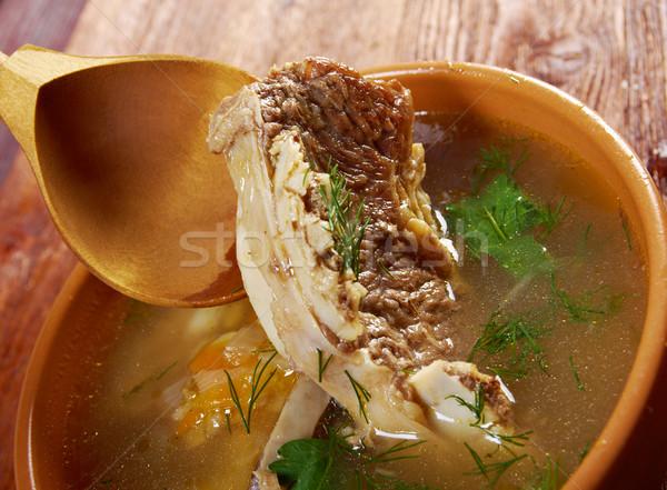 Leves marhahús borda zöld tányér zöldség Stock fotó © fanfo