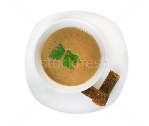 Cremoso sopa servido primer plano aislado blanco Foto stock © fanfo