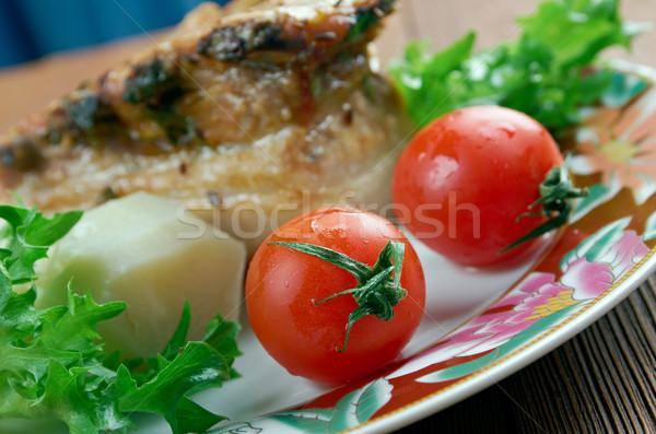 Domuz eti göbek salata sebze sokak Stok fotoğraf © fanfo