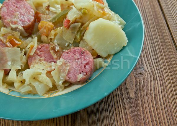Oktoberfest güveç sosis patates ürün tipik Stok fotoğraf © fanfo