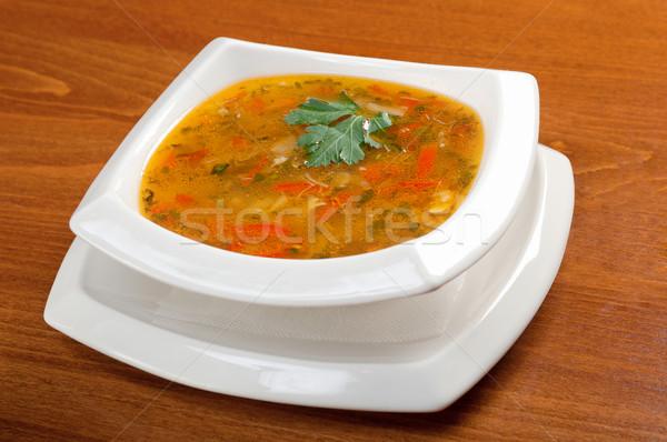 Sopa de legumes italiano comida restaurante alimentação colher Foto stock © fanfo