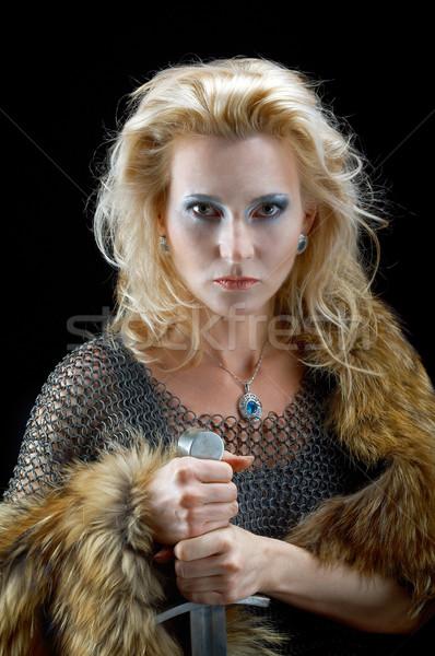 Meisje zwaard mode retro hoofd foto Stockfoto © fanfo