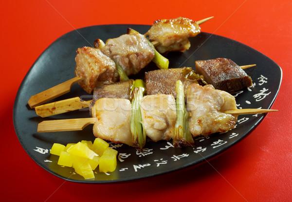 Japanese skewered chicken,pork,meatYakitori   Stock photo © fanfo