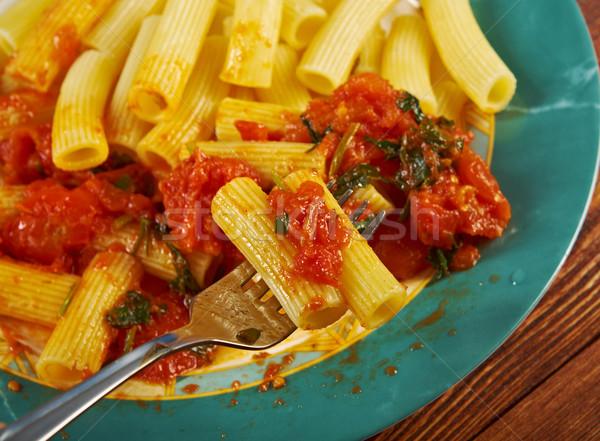 Pasta comida italiana salsa de tomate cena de oliva comida Foto stock © fanfo