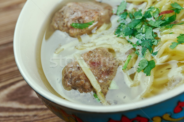 Leves tészta húsgombócok piros hús Ázsia Stock fotó © fanfo