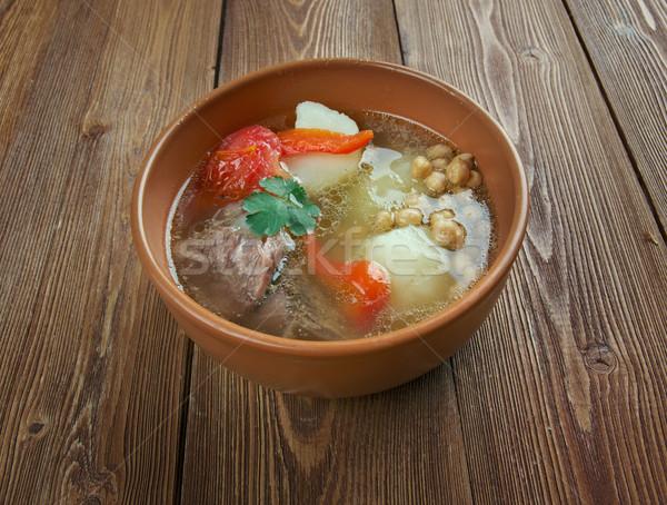 Sopa cáucaso central carne de cordero hortalizas hoja Foto stock © fanfo