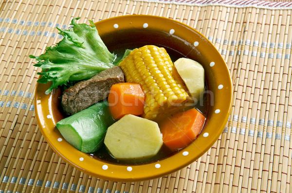Mexicaanse traditioneel soep mol squash groene bonen Stockfoto © fanfo