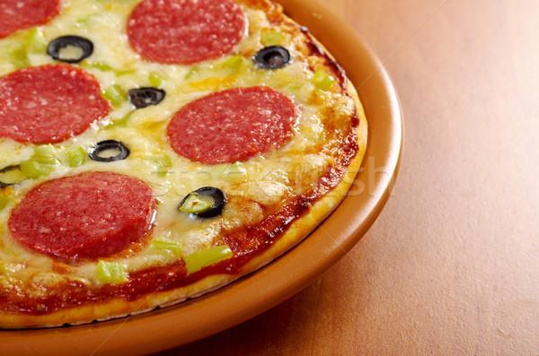 ホーム ピザ ペパロニ チーズ ランチ 高速 ストックフォト © fanfo