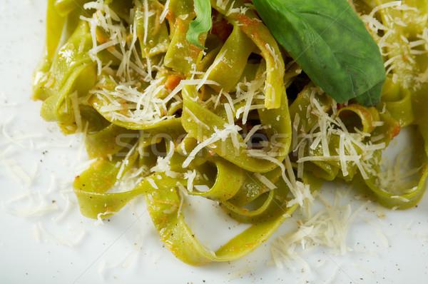 ストックフォト: パスタ · タリアテーレ · ペスト · ソース · バジル · 食品