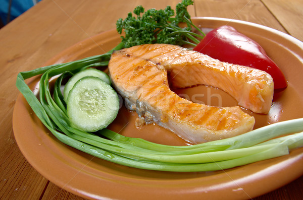 grilled salmon steak Stock photo © fanfo