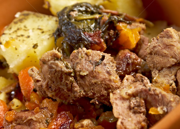 тушеное мясо морковь картофель горячей банка стране Сток-фото © fanfo