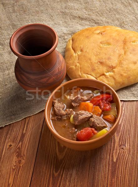 старомодный рагу из говядины домашний американский говядины хлеб Сток-фото © fanfo