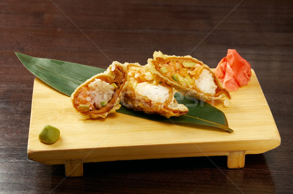 Tempura Maki Sushi - Roll made of Smoked Salmon Stock photo © fanfo