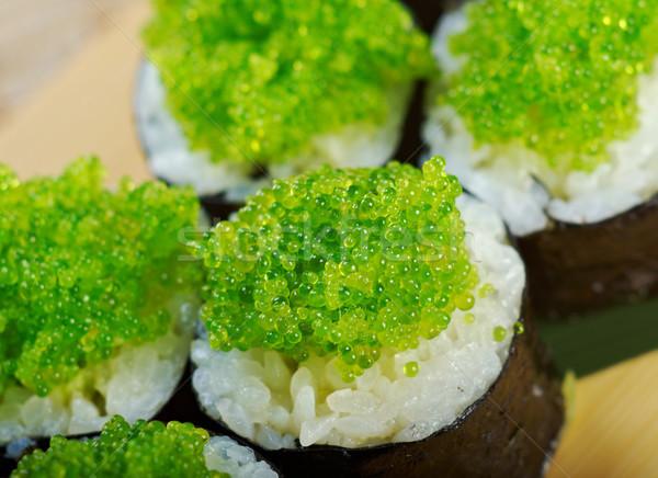 Tobiko (flying fish roe) Gunkan Maki Sushi Stock photo © fanfo