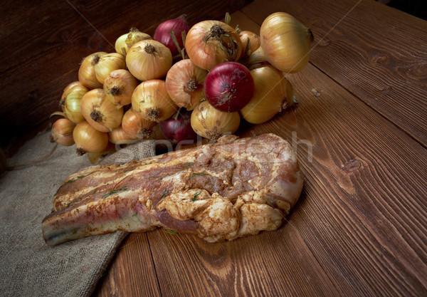 Finom disznóhús has vidék konyha fa Stock fotó © fanfo