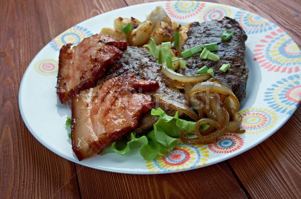 Máj szalonna edény grillezett étel Egyesült Államok Stock fotó © fanfo
