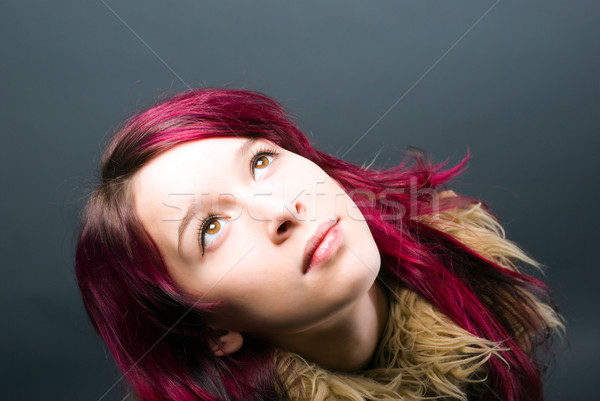 Emo look   girl with red hair  Stock photo © fanfo