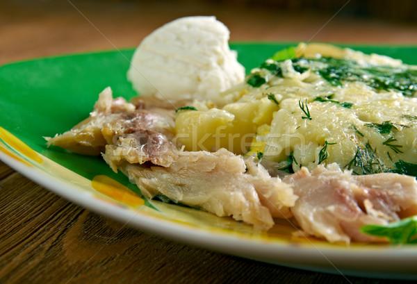 фермы итальянский завтрак пасты Сыр из козьего молока копченый Сток-фото © fanfo
