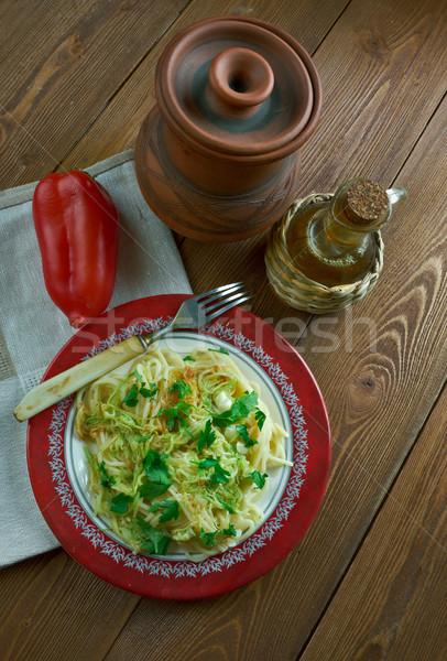 Fokhagyma vaj spagetti cukkini tészta étel Stock fotó © fanfo