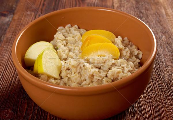 Avena frutas atención selectiva alimentos desayuno dulce Foto stock © fanfo