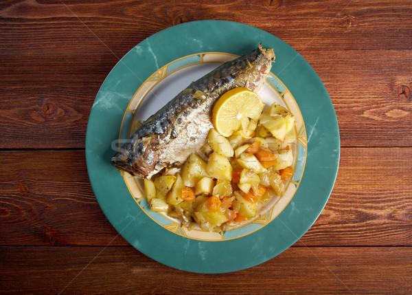 Gegrild makreel schotel vis Stockfoto © fanfo