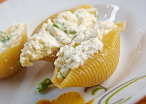 Foto stock: Recheado · queijo · frango · fazenda · macarrão · férias