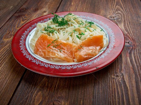 Pasta vermicelli with salmon Stock photo © fanfo