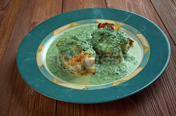 サルサ フライド 魚 緑 ソース レモン ストックフォト © fanfo