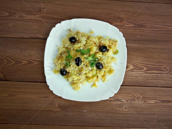 Foto stock: Estilo · popular · ovos · cozinhar · batata · alho