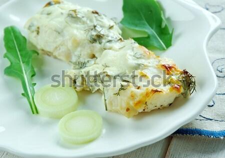Doldurulmuş patates jambon çedar peynir Stok fotoğraf © fanfo