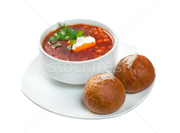 borsch.Ukrainian and russian  soup  Stock photo © fanfo
