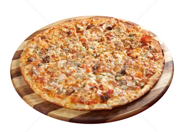 Stok fotoğraf: Pizza · sığır · eti · domuz · eti · İtalyan · mutfak · stüdyo