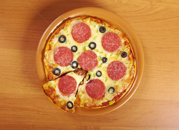 Otthon pizza pepperoni sajt ebéd gyors Stock fotó © fanfo