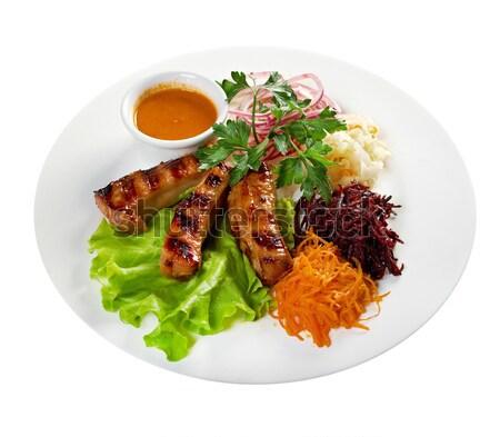 Cordero costilla carne hortalizas alimentos ensalada Foto stock © fanfo