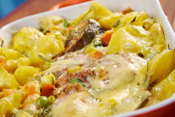 Сток-фото: форель · картофель · продовольствие · рыбы · мяса