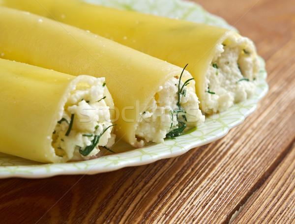 Spenót olvadt mozzarella sajt termék európai Stock fotó © fanfo