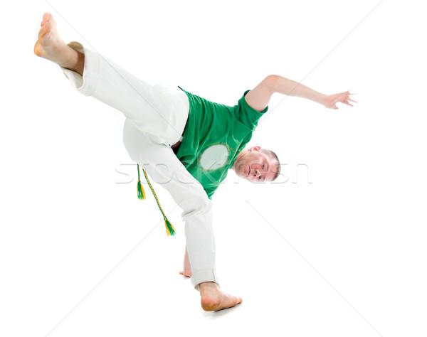 Capoeira táncos pózol fehér képzés verekedés Stock fotó © fanfo
