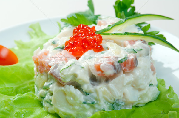 Salad with salmon and roe Stock photo © fanfo