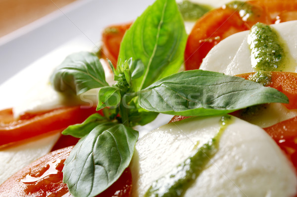 Arrangement of mozzarella and tomatoes Stock photo © fanfo