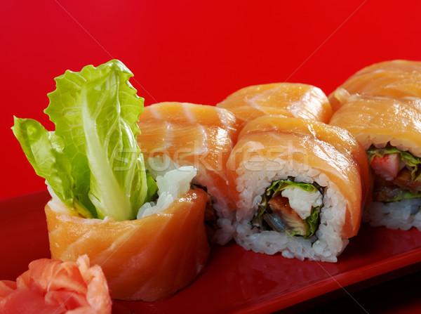 Uramaki. Philadelphia classic.  Japanese sushi Stock photo © fanfo