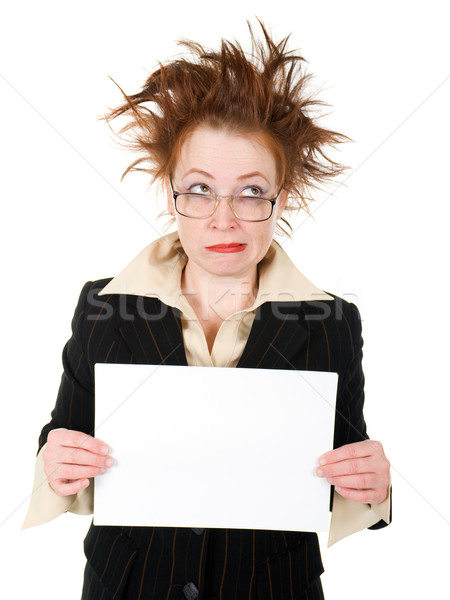 crazy businesswoman holding a whiteboard  Stock photo © fanfo