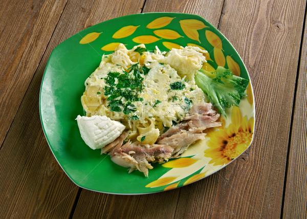 ストックフォト: ファーム · イタリア語 · 朝食 · パスタ · ヤギ乳チーズ · 薫製