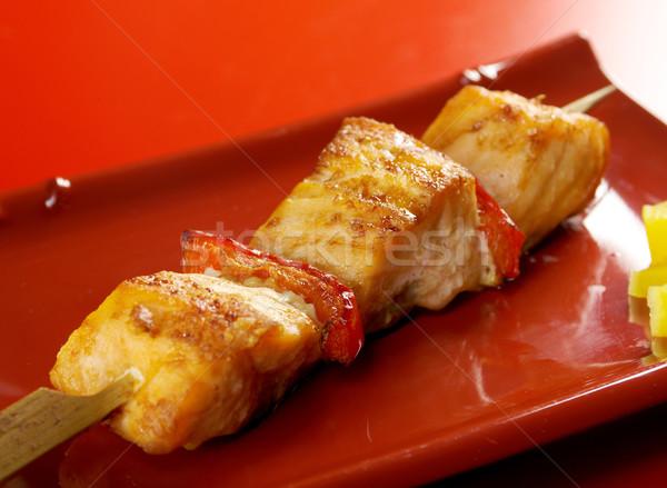 Japanese skewered salmon Yakitori  Stock photo © fanfo