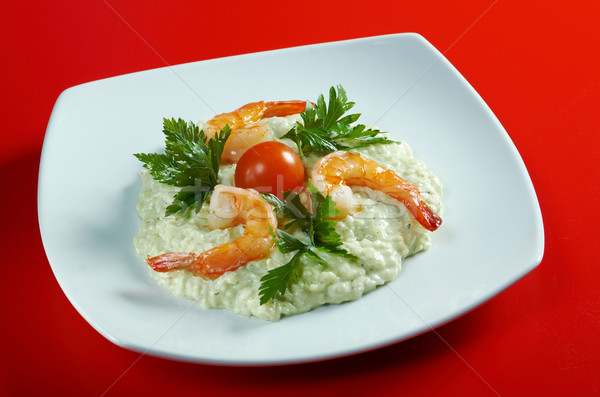 Delicious italian risotto with shrimps Stock photo © fanfo