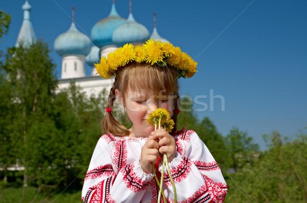Russian  girl on church Stock photo © fanfo