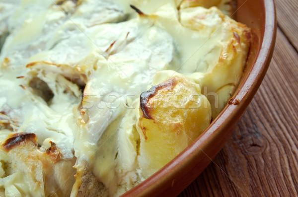 Sült tejföl krumpli étel hal steak Stock fotó © fanfo